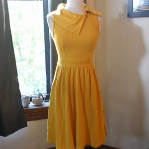 Modcloth mustard yellow cowlneck pleated dress XXS